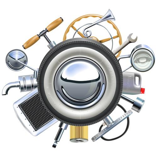 Vector Retro Car Parts Concept