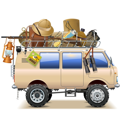 Vector Travel Car with Safari Accessories