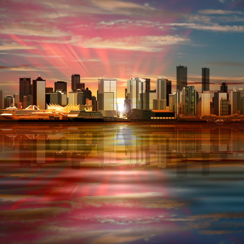 Vector background with panorama of city and pink sky