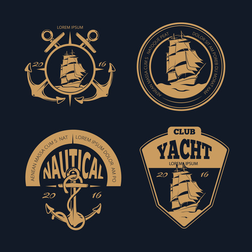 Vector color nautical labels and badges