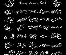 Vector line vintage scroll items for ornate design
