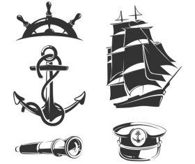 Vector nautical elements for vintage labels