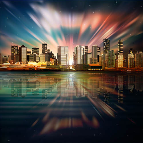 Vector sea sunset dark background with panorama of vancouver