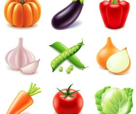 Vegetables icons realistic vector set