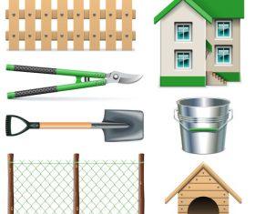 Villa fence tool icon vector