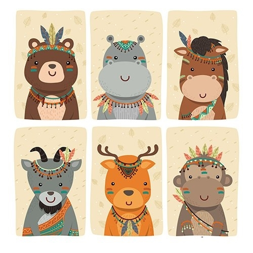 Vintage animal character collection illustration vector