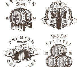 Vintage beer barrel label vector