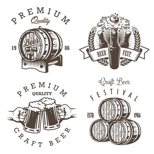 Vintage beer barrel label vector