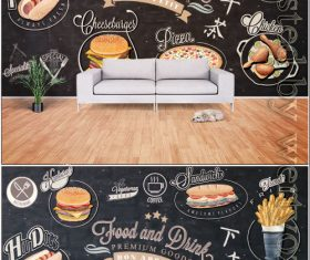 Vintage chalkboard western style fast food background wall vector