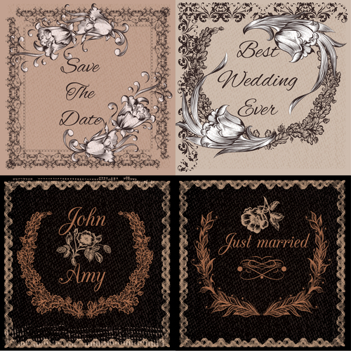 Vintage style ideal for invitation branding save the date cards and others vector
