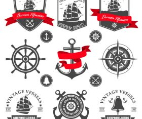 Vintage vessels label vector