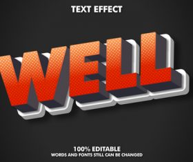 WELL 3d font editable text style effect vector