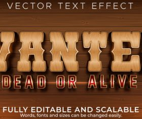 Wanted 3d editable text style effect vector