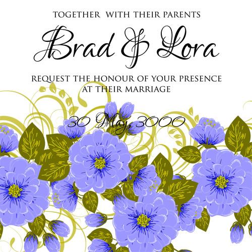 Watercolor illustration wedding invitation card vector