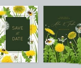 Wedding invitation card template with leaves vector
