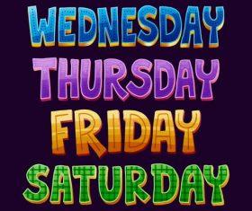 Wednesday catchwords vector
