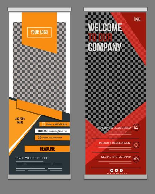 Welcome standee banner vector