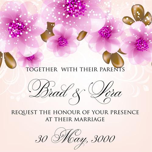Well designed wedding invitation card vector
