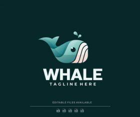 Whale gradient logo vector