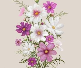 White and purple flowers watercolor painting background vector