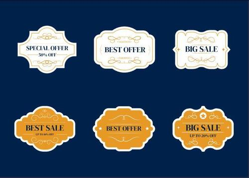 White and yellow sale label vector