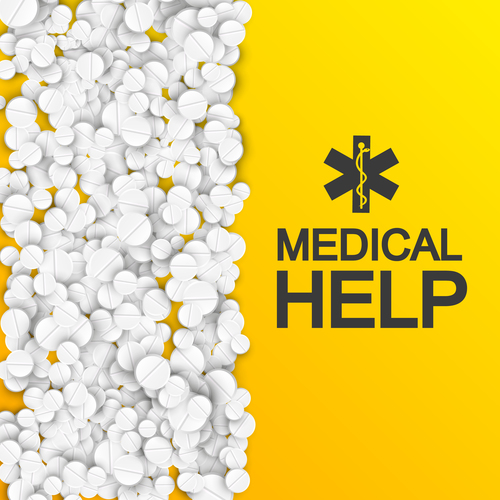 White pills and yellow background medicine advertisement vector