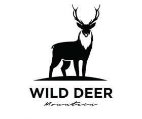 Wild deer logo design vector