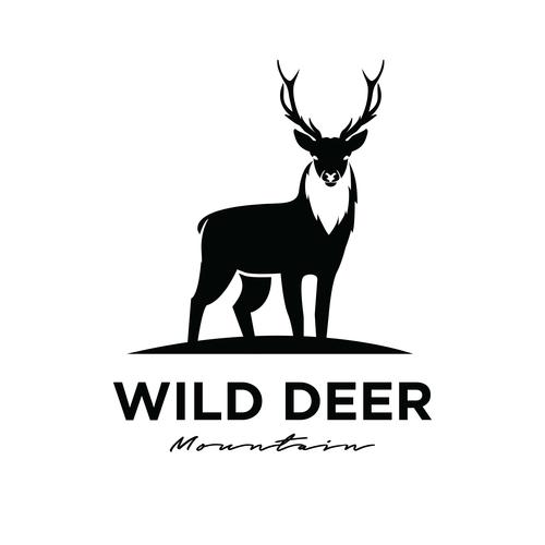Wild deer logo design vector