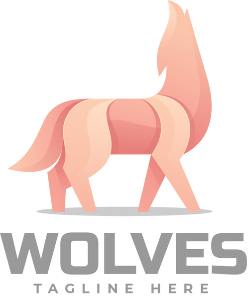 Wolf gradient colorful logo vector