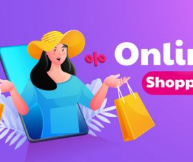 Woman online shopping illustrator vector