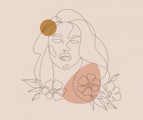 Woman portrait line sketch vector