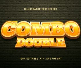 Yellow 3d font editable text style effect vector