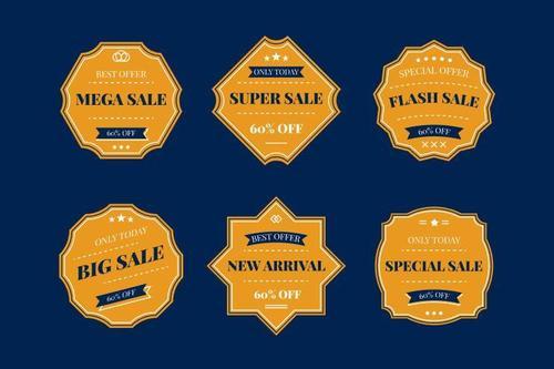 Yellow exquisite sale label vector