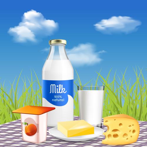 Yogurt cheese fresh milk advertising vector
