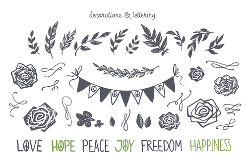 decorations and lettering vector