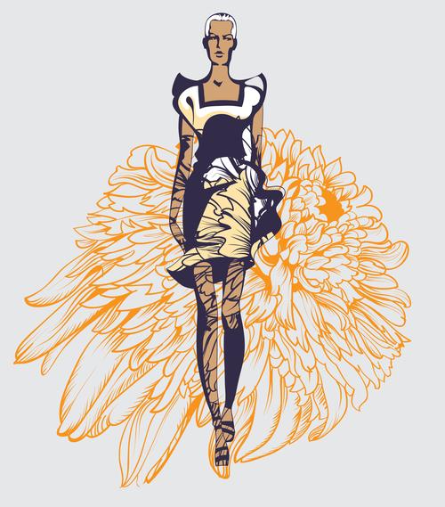 floral print model fashion style illustration vector