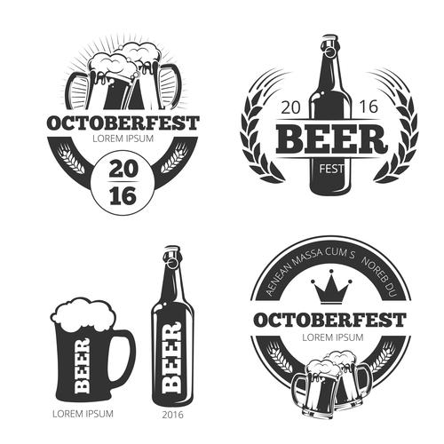 vintage beer brewery vector emblems