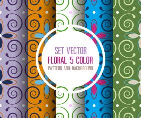 5 color patterns seamless background vector