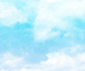 A few white clouds on the sky watercolor painting vector