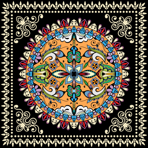 Abstract geometric background printed mandala fabric vector
