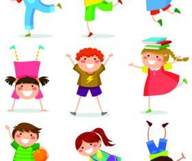 Active children cartoon illustration vector