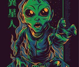 Alien T-shirt print pattern background vector