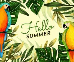 Animal background summer card vector
