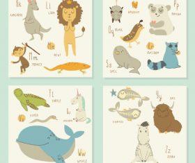 Animal literacy card vector