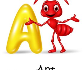 Ant and alphabet vector