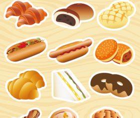 Assorted bread vector
