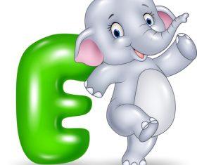 Baby elephant and alphabet vector