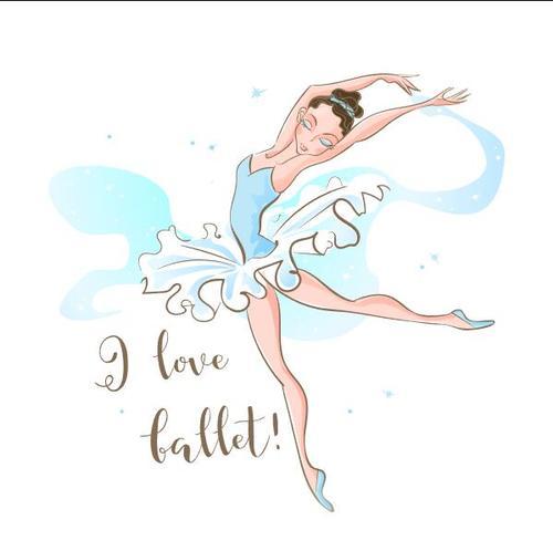 Ballet girl cartoon vector