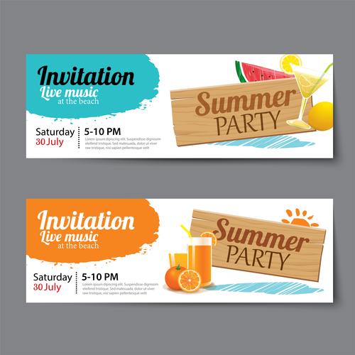 Banner summer party vector