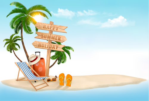 Beach chair and palms and wooden sign vector